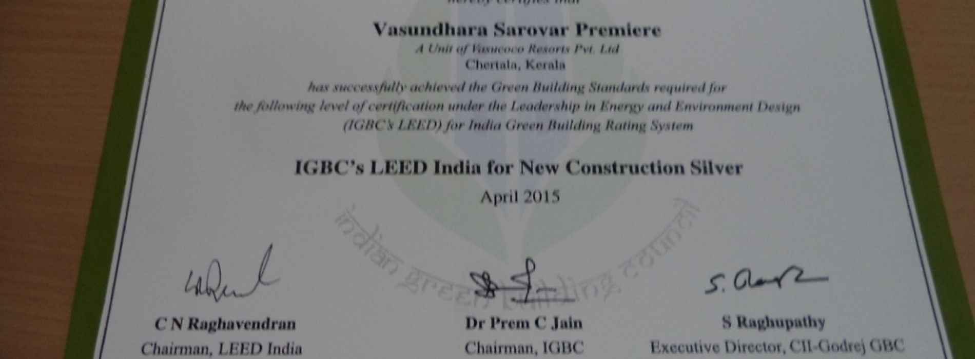 Vasundhara Sarovar Premiere, Vayalaris now LEED – Silver Certified