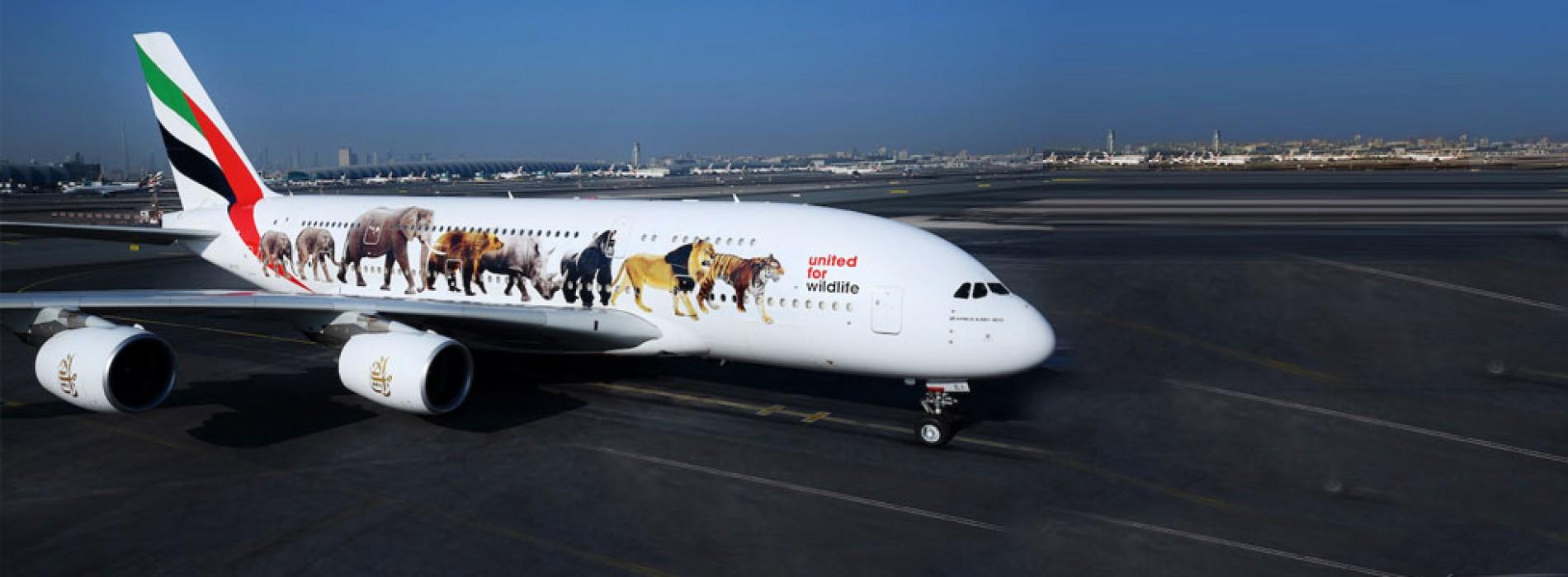 Emirates' super jumbo message against illegal wildlife trade