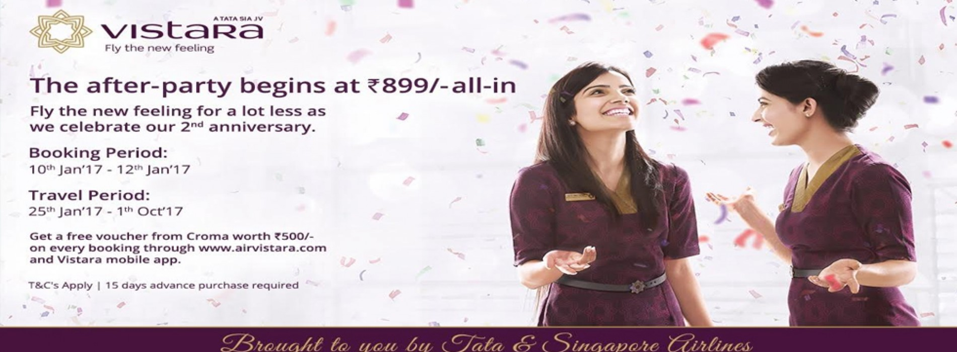 Vistara announces 3-day Celebration Sale with fares starting INR 899 all-in
