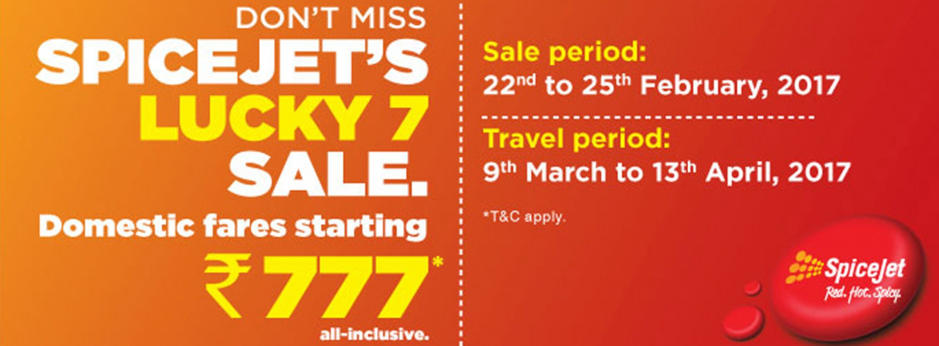 SpiceJet offers Rs. 777 All-Inclusive Fares under 'Lucky 7 Sale'