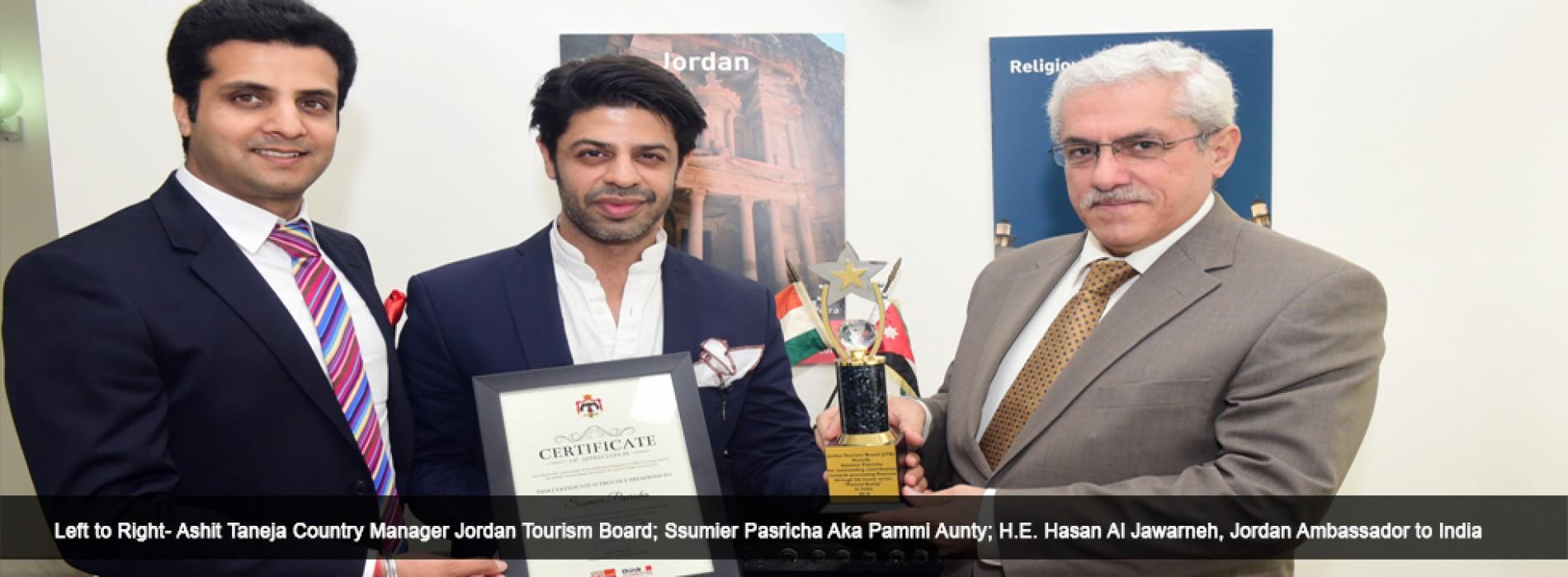 Jordan Tourism Board awards Certificate of Appreciation to Pammi Aunty