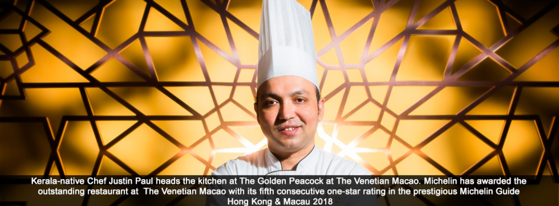 The Golden Peacock at The Venetian Macao Awards Michelin Star for fifth straight year