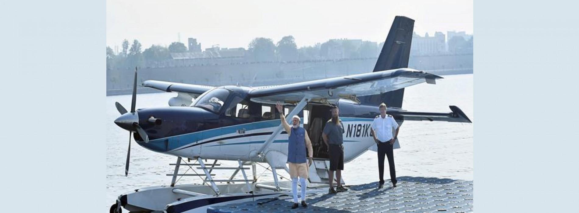 Seaplane flies with PM Narendra Modi on board