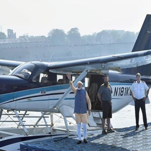 Seaplane flies with PM Narendra Modi on board
