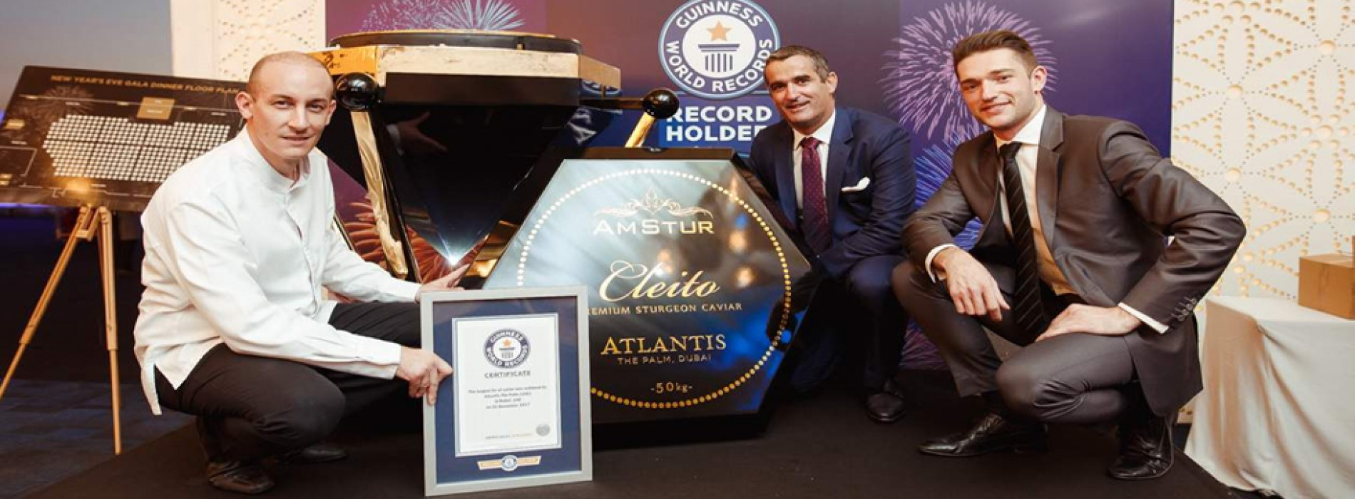 Atlantis, The Palm and AmStur Caviar break The Guiness World Record™ title for the world largest caviar tin