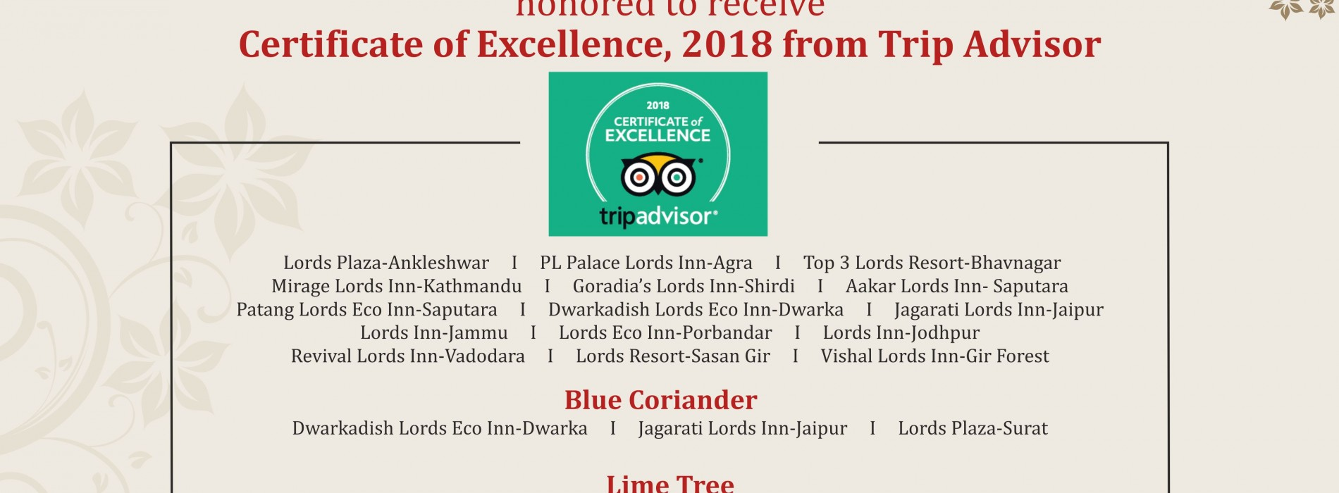 Lords Hotels & Resorts receives TripAdvisor Certificate of Excellence