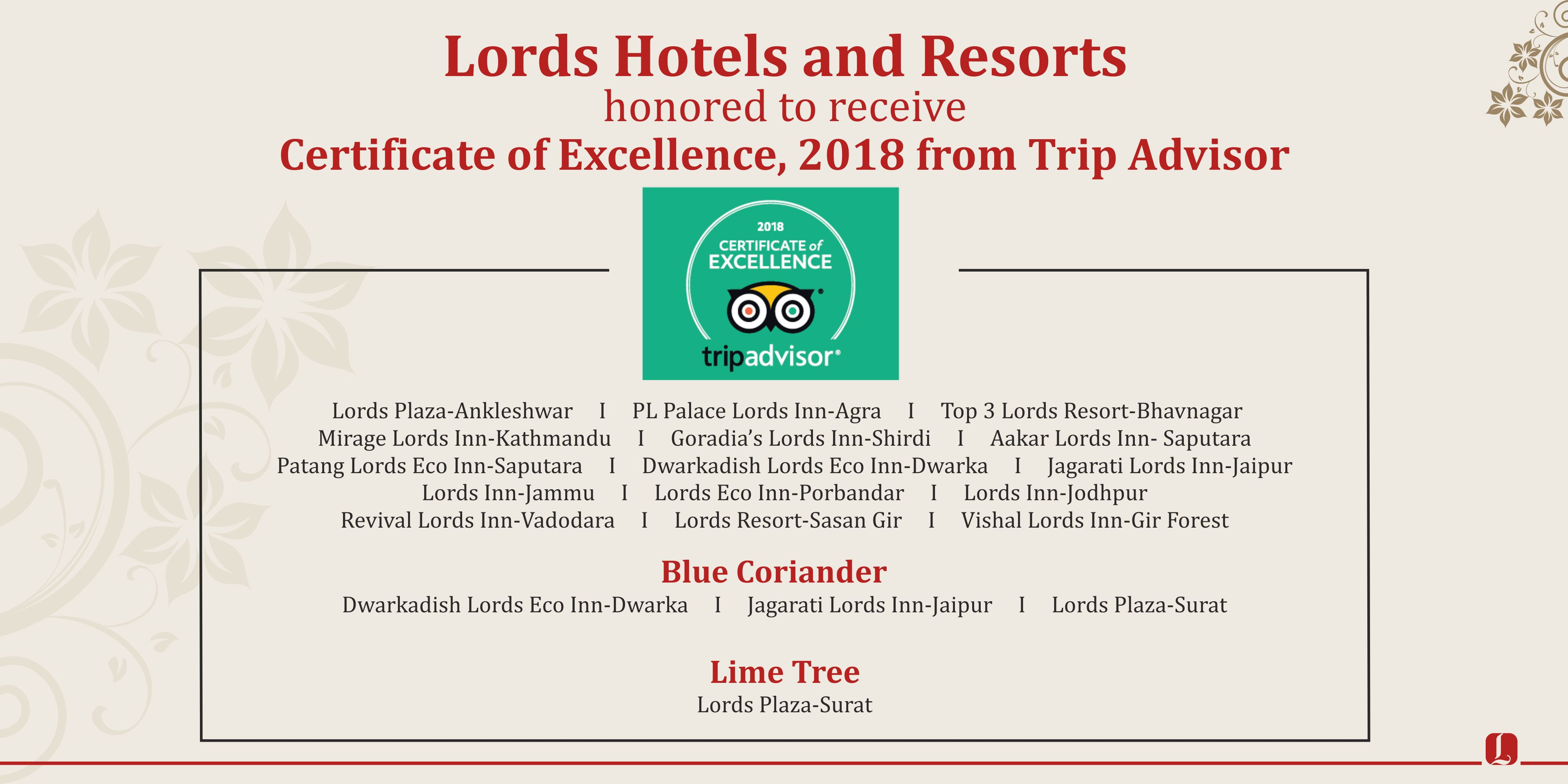 Lords Hotels Resorts Receives Tripadvisor Certificate Of
