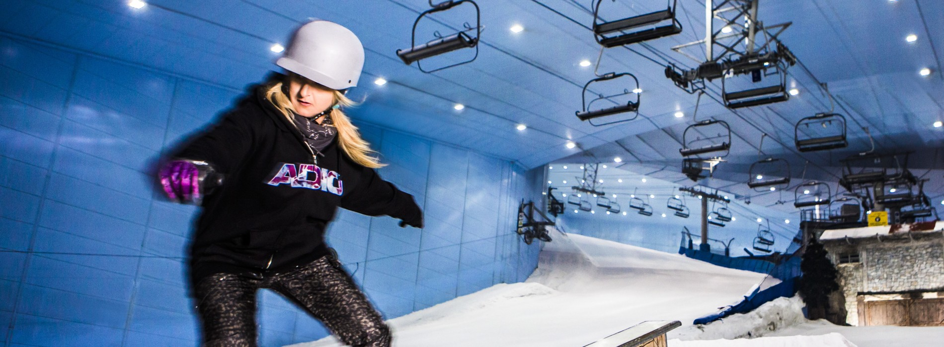 Down through the Snow at Ski Dubai