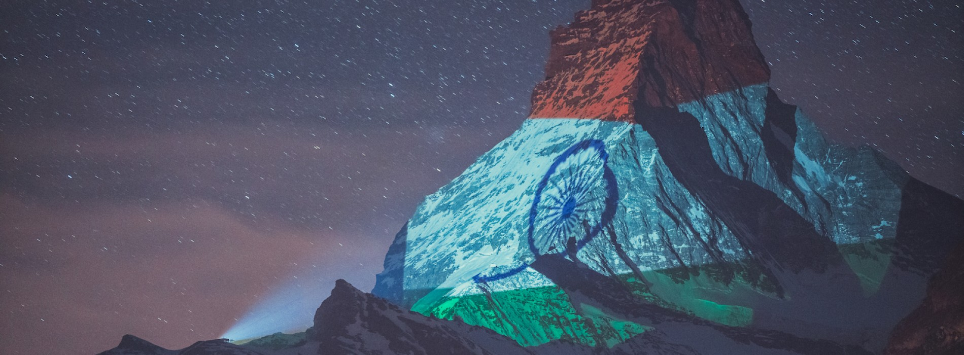 Indian flag projected onto Matterhorn in Zermatt to show solidarity against coronavirus